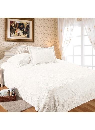 Maxstyle Rose Fluffy Pudra Soft Yatak Örtüsü Krem